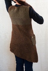 LVO-116 Asymmetrical Pull Over Dress-Hand Crochet-Ready to Ship-ONE OF A KIND