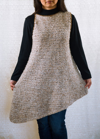LVO-117 Asymmetrical, Reversible Pull Over Dress-Hand Crochet-Ready to Ship