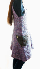 LVO-118 Asymmetrical  Pull Over Dress-Hand Crochet-Made to Order