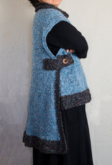 LVO-127 Asymmetrical  Pull Over Poncho-Hand Crochet & Knit-Made to Order