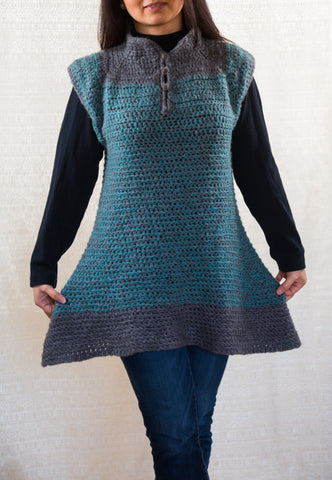 LVO-130  Reversible Swing Dress, Pull Over Tunic-Hand Crochet-Ready to Ship