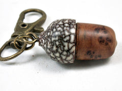 LV-3436  Morrocan Thuya Burl & Betelnut Acorn Pendant Box, Charm, Pill Holder-SCREW CAP