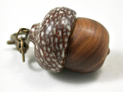 LV-3278 Lignum Vitae & Betel Nut Acorn Pendant Box, Charm, Pill Holder-SCREW CAP