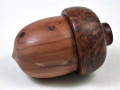 LV-3141  Aromatic Cedar & Red Mallee  Burl Acorn Pill Box, Jewelry, Engagement Ring Box-SCREW CAP