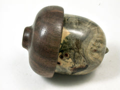 LV-3372  Buckeye Burl & Black Walnut Burl Acorn Jewelry, Pill , Trinket Box-SCREW CAP