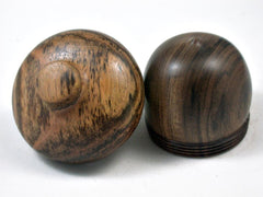 LV-3384 Black Chacate & Bocote Acorn Pill Box, Engagement Ring Box-SCREW CAP