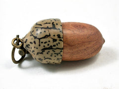 LV-3280 Amboyna Burl  & Betelnut Acorn Pendant Box, Charm, Pill Holder-SCREW CAP