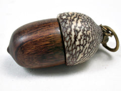 LV-3432  Desert Ironwood & Betelnut Acorn Pendant Box, Charm, Pill Holder-SCREW CAP