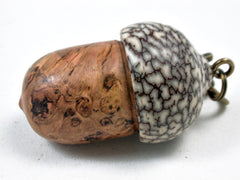 LV-3424  Cherry Burl & Betelnut Acorn Box, Pill Holder, Compartment Pendant-SCREW CAP
