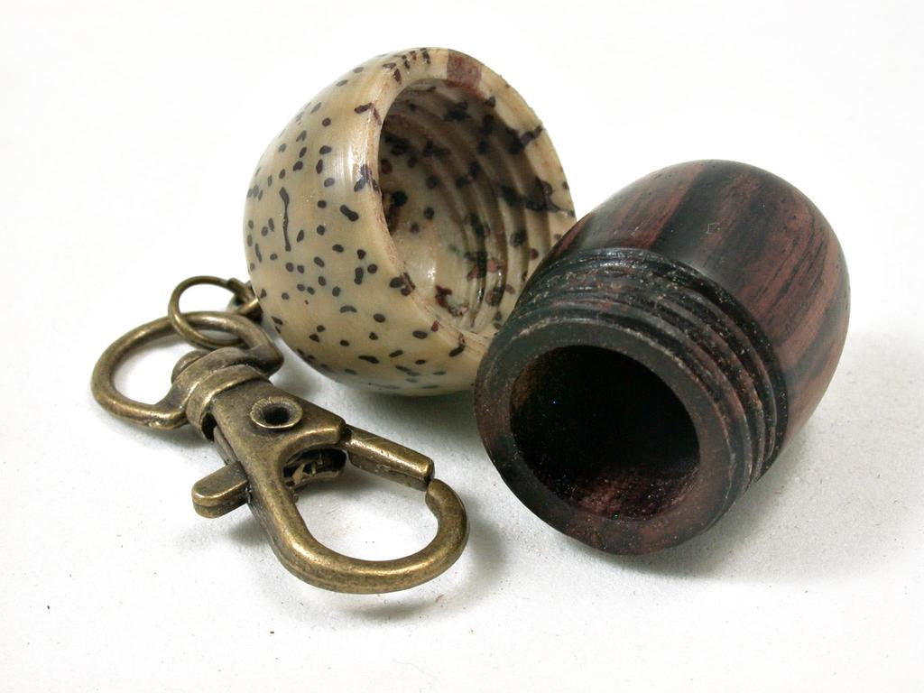 LV-3283 Camatillo & Yolillo Palm Nut  Acorn Box, Pill Holder, Compartment Pendant-SCREW CAP