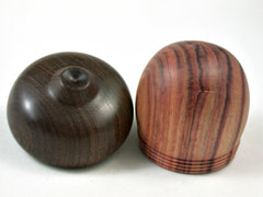 LV-3319 Tulipwood & Brown Ebony Acorn Jewelry Box, Pill Box, Trinket Box-SCREW CAP