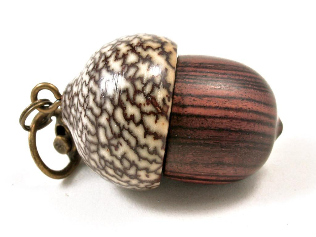 LV-3274 Kingwood & Betel Nut Acorn Pendant Box, Charm, Pill Holder-SCREW CAP