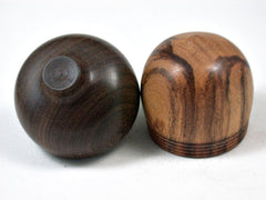 LV-3381   Tigre Caspi & Brown Ebony Acorn Pill Box, Engagement Ring Box-SCREW CAP