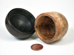 LV-3203  Mango burl & Lanceolaria Wooden Acorn Pill Box, Jewelry, Engagement Ring Box-SCREW CAP