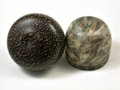 LV-3375   Buckeye Burl & Black Palm Acorn Pill Box, Engagement Ring Box-SCREW CAP