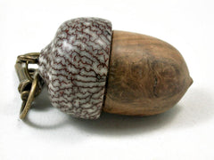 LV-3261 Pollyanna Burl & Betel Nut Acorn Pendant Box, Charm, Pill Holder-SCREW CAP