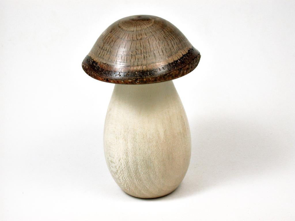 LV-2876 Holly & Live Oak Wooden Mushroom Trinket Box, Pill, Jewelry Box-THREADED CAP