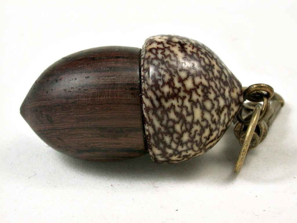 LV-3055  Rosewood & Betelnut Acorn Box, Pill Holder, Compartment Pendant-SCREW CAP
