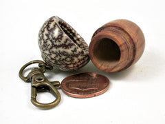 LV-2964 Japanese Sugi & Betelnut Acorn Box, Pill Holder, Memorial Pendant-SCREW CAP