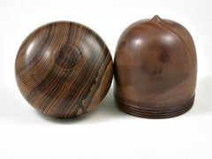 LV-2989  Camphor Burl & Bocote Acorn Pill Box, Jewelry Box, Keepsake-SCREW CAP