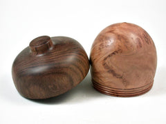 LV-2993  Red gum burl & Chechen Acorn Pill Box, Jewelry Box, Keepsake-SCREW CAP