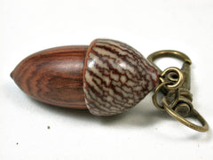 LV-2933  Acorn Pendant Box, Compartment Jewelry from Snakewood & Betel Nut-SCREW CAP