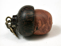 LV-2800  Amboyna Burl & Black Palm  Acorn Pendant Box,  Pill  Fob, Secret Compartment-SCREW CAP
