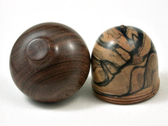 LV-2833   Black n White Ebony & Brown Ebony Acorn Jewelry Box, Pill Box, Trinket Box-SCREW CAP