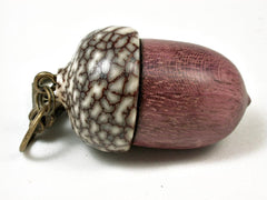 LV-2946  Acorn Pendant Box, Cremation Jewelry from Purpleheart & Betel Nut-SCREW CAP