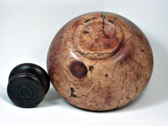 LV-3025  Manzanita & Rosewood Threaded Vessel, Lidded Urn with Vermiculite Inlay