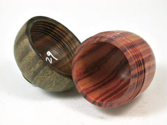 LV-2729  Tulipwood & Verawood Acorn Jewelry, Ring Box, Pill Box-SCREW CAP