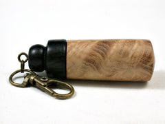 LV-3007  Black Locust Burl & Ebony Pendant Box, Pill Holder, Snuff Box-SCREW CAP