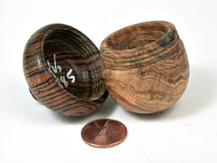 LV-2885 Wooden Acorn Jewelry, Ring Box, Pill Box  Olive Burl & Bocote-SCREW CAP