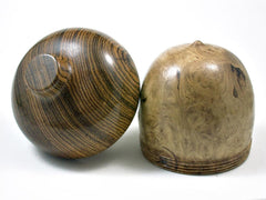 LV-2836  Black Locust Burl & Bocote Acorn Jewelry Box, Pill Box, Trinket Box-SCREW CAP