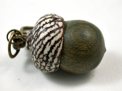 LV-3115  Verawood & Betelnut Acorn Box, Pill Holder, Compartment Pendant-SCREW CAP