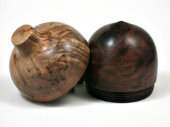 LV-2651 Milo Burl & Curly Koa Wooden Acorn Jewelry Box, Pill Box, Trinket Box-SCREW CAP