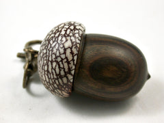 LV-3113  True Lignum Vitae & Betelnut Acorn Box, Pill Holder, Compartment Pendant-SCREW CAP