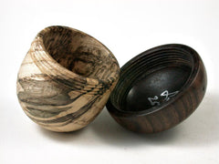LV-2671 Spalted Hacberry & Kou Acorn Jewelry, Ring Box, Pill Box-SCREW CAP