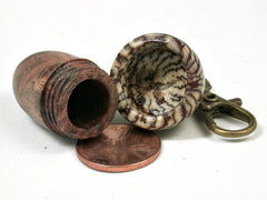 LV-2937 Papaturro Burl & Betelnut Acorn Box, Pill Holder, Memorial Pendant-SCREW CAP