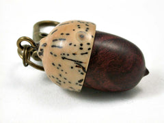 LV-3057 Logwood Burl & Palm Nut  Acorn Box, Pill Holder, Compartment Pendant-SCREW CAP