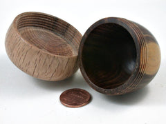 LV-2967 Wooden Acorn Jewelry, Ring Box, Pill Box  from Lignum Vitae & Scarlet Oak-SCREW CAP