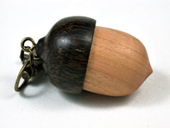 LV-2716 Pink Ivory & Black Palm Acorn Pendant Box, Pill  Fob, Secret Compartment-SCREW CAP