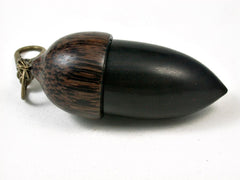 LV-2815 Blackwood & Black Palm Acorn Pendant Box, Pill Fob, Secret Compartment-SCREW CAP