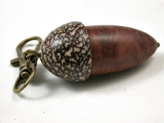 LV-3118  Red Mallee Burl & Betelnut Acorn Box, Pill Holder, Compartment Pendant-SCREW CAP