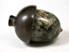 LV-2743  Buckeye Burl & Black Walnut Acorn Jewelry, Ring Box, Pill Box-SCREW CAP