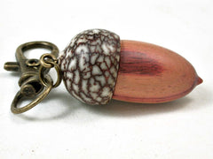 LV-3059  Tulipwood & Betelnut  Acorn Box, Pill Holder, Compartment Pendant-SCREW CAP