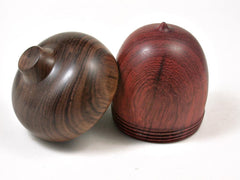 LV-3032  African Padauk & Tamboti  Acorn Pill Box, Jewelry, Engagement Ring Box-SCREW CAP