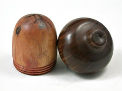 LV-3018  Raja Kayu with Lignum Vitae Acorn Wooden Pill Holder, Ring Box, -SCREW CAP