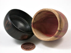 LV-3016  Flamed Box Elder & Mun Ebony Acorn Pill Holder, Ring Box, -SCREW CAP