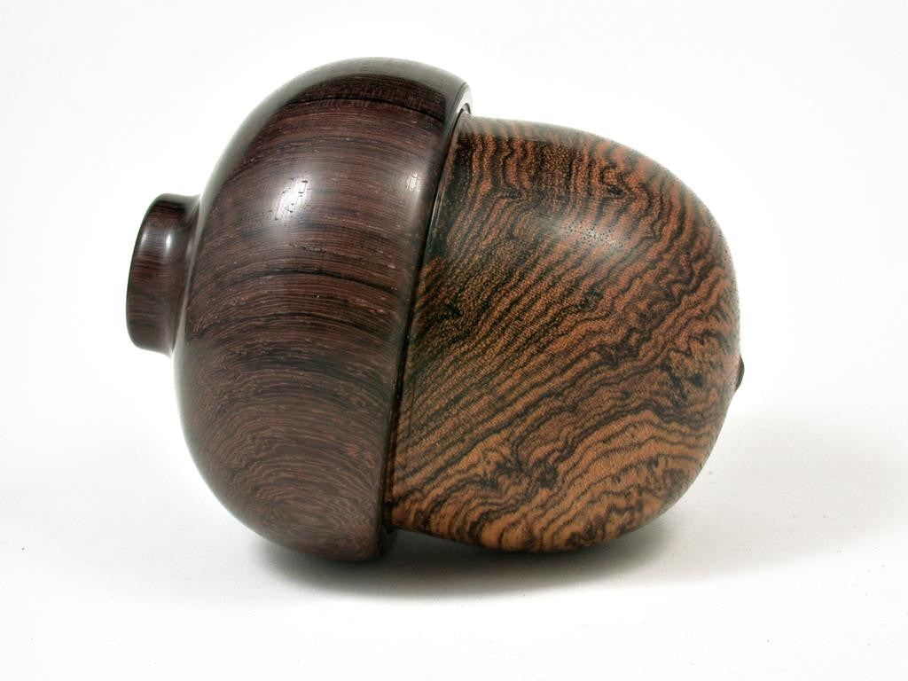 LV-2886  Bocote & Burmese Blackwood Acorn Jewelry Box, Pill Box, Trinket Box-SCREW CAP